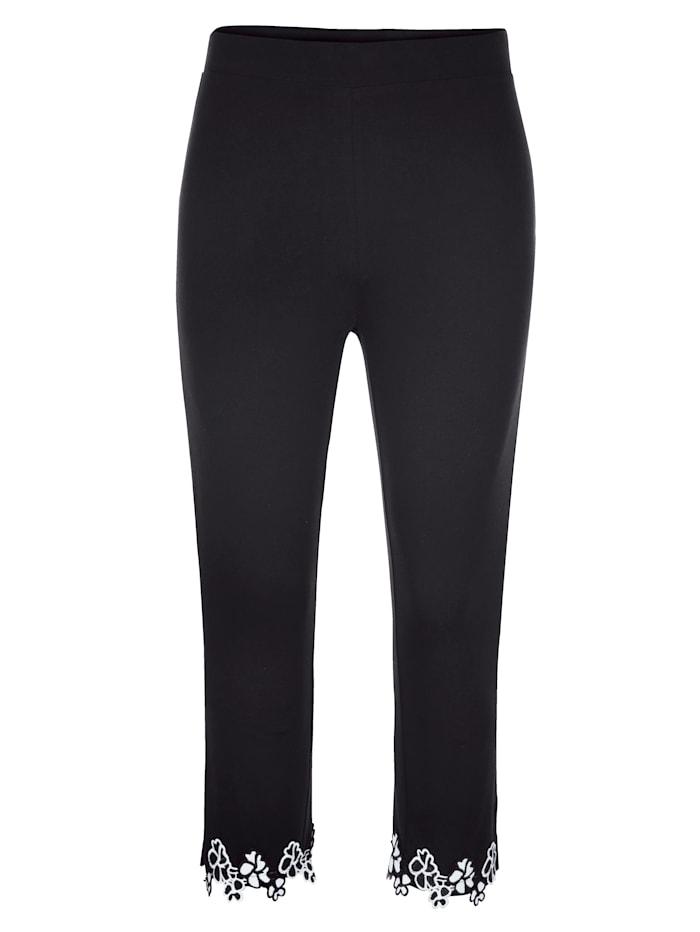 MIAMODA Capribroek met gebloemd kant aan de zoom, Zwart/Wit