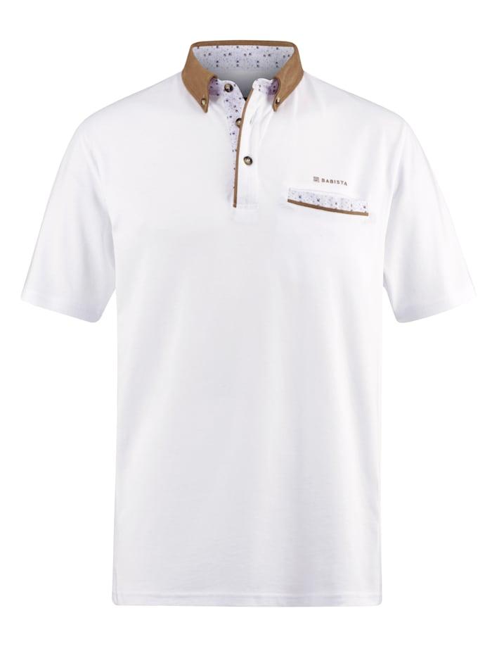 BABISTA Polo tričko s potlačou & lemovaním, Biela