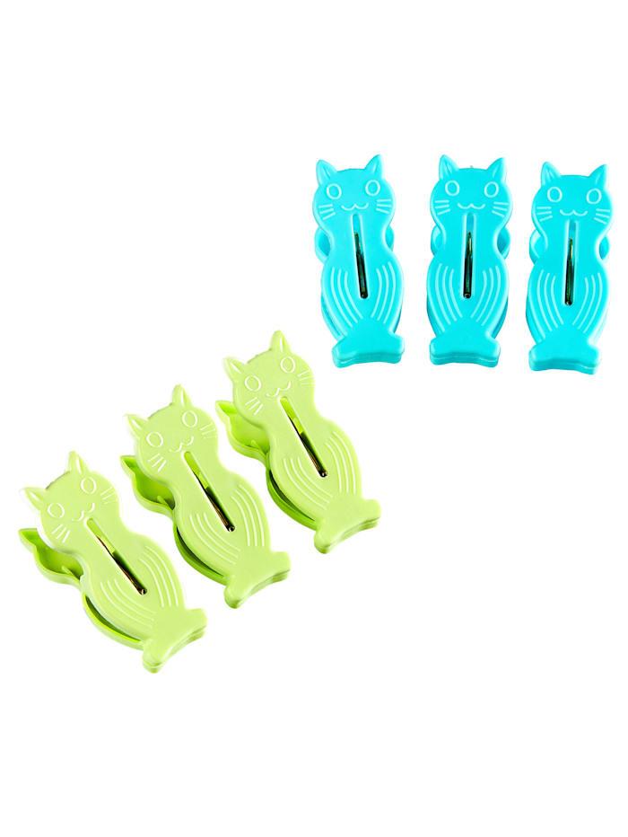 32tlg. Wäscheklammern-Set 'Miezi', blau/grün