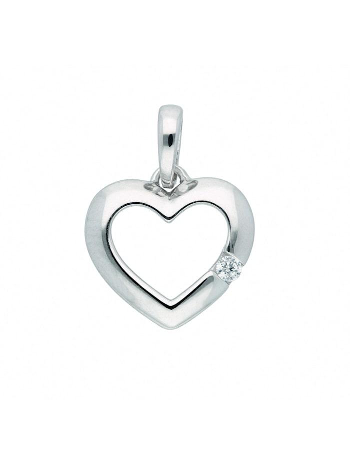 1001 Diamonds Damen Goldschmuck 333 Weißgold Anhänger Herz mit Zirkonia, silber