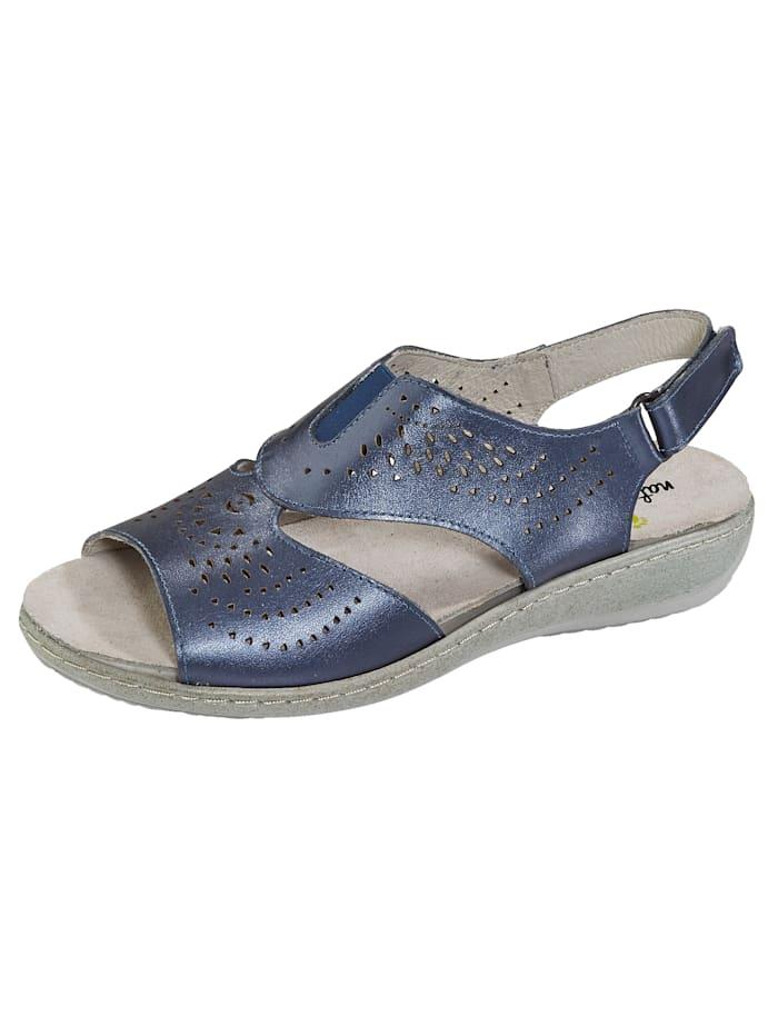 Naturläufer Sandaaltje met zomerse perforaties, Blauw