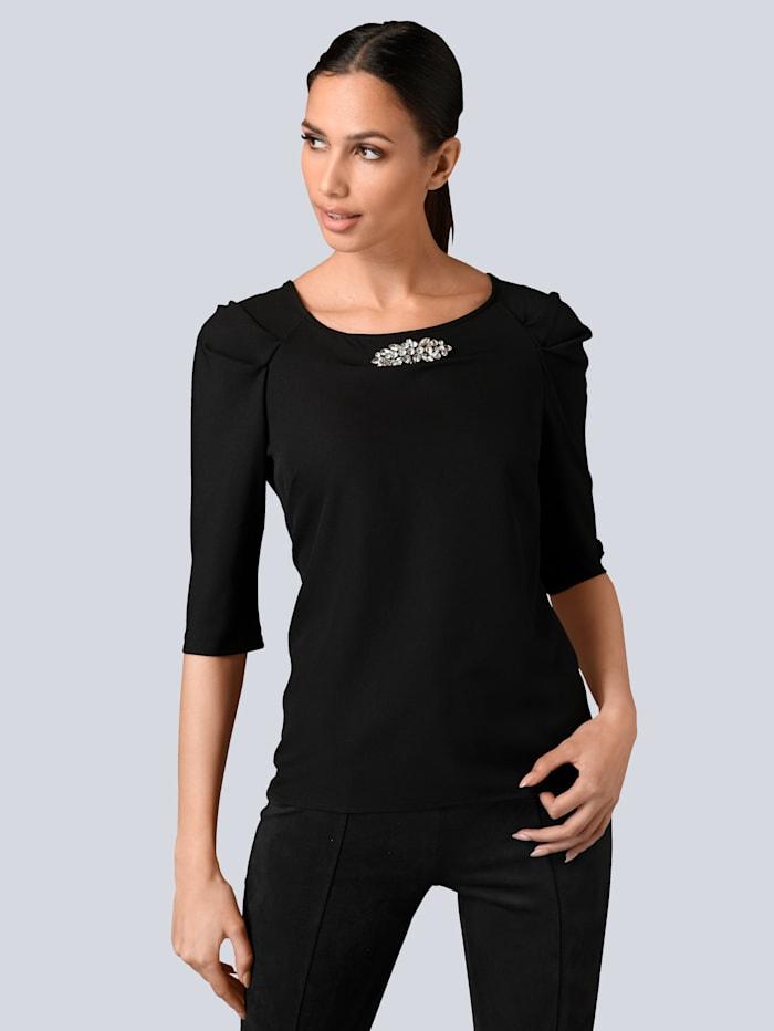 Alba Moda Shirt mit Schmuckdetail am Ausschnitt, Schwarz