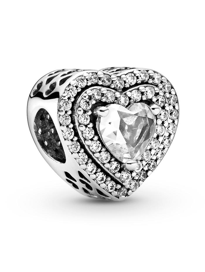 Pandora Charm -funkelnde Herzen 799218C01, Silberfarben