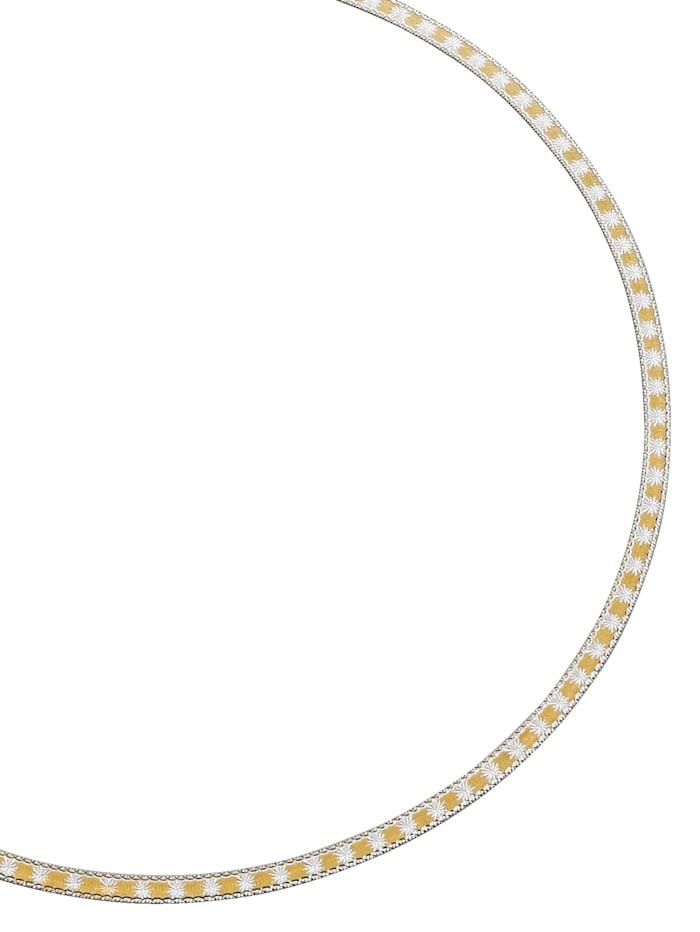 Diemer Gold Halskette in Gelbgold 585, Gelbgoldfarben/Weiß
