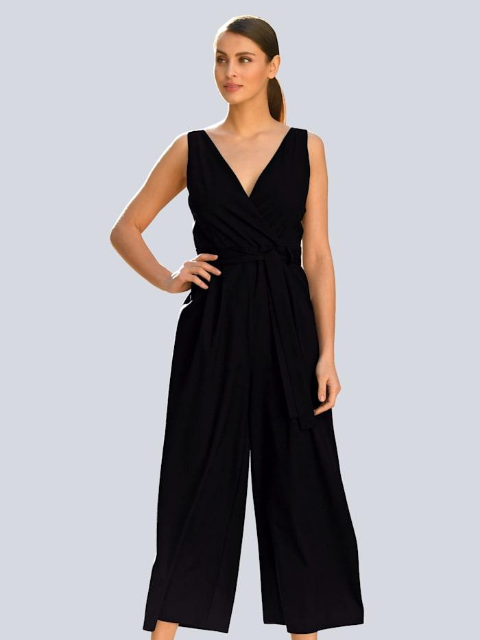Alba Moda Jumpsuit in modieuze wikkellook, Zwart