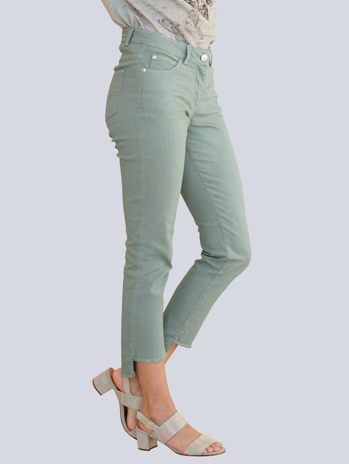 Alba Moda Jeans mit Fransensaum, Salbeigrün