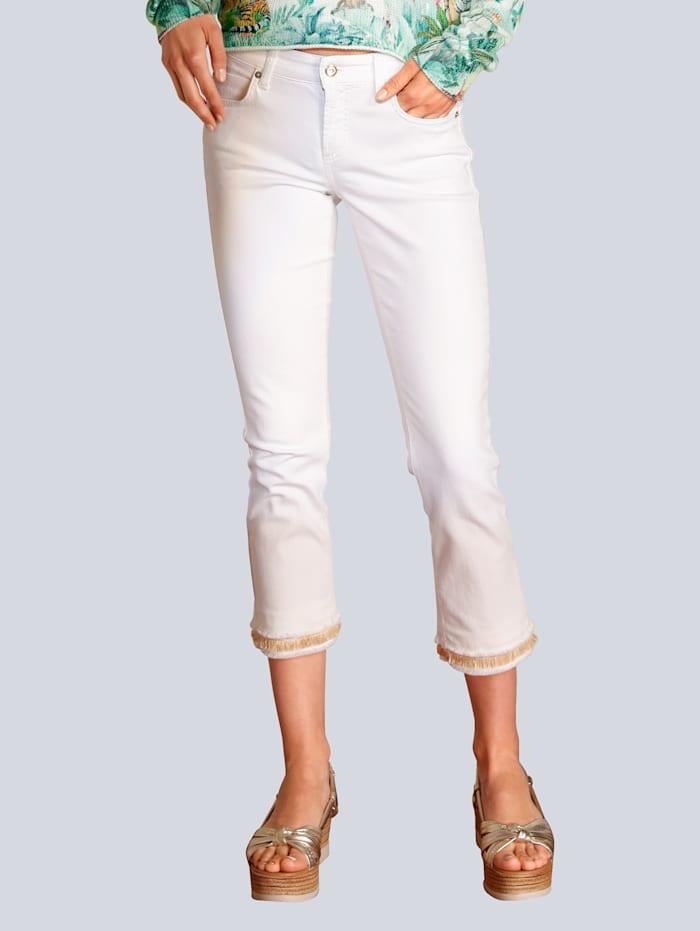 CAMBIO Jeans mit tollem Saumabschluss, Weiß