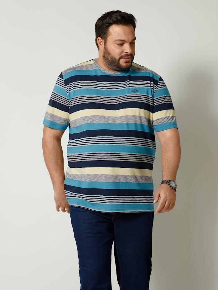 Men Plus T-Shirt mit Streifendesign, Türkis/Marineblau/Gelb