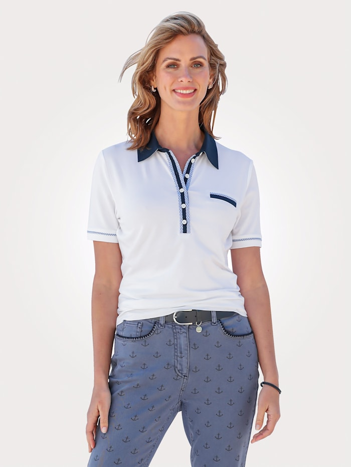MONA Polo shirt with contrast collar, White/Navy