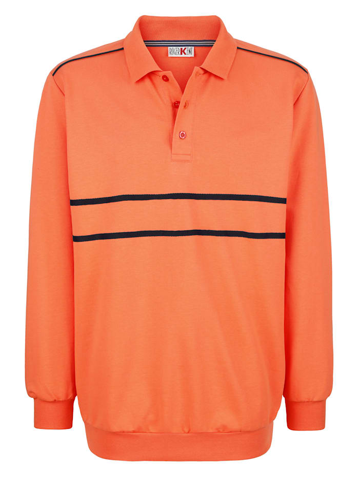 Roger Kent Sweatshirt mit Kontrastverarbeitung, Orange