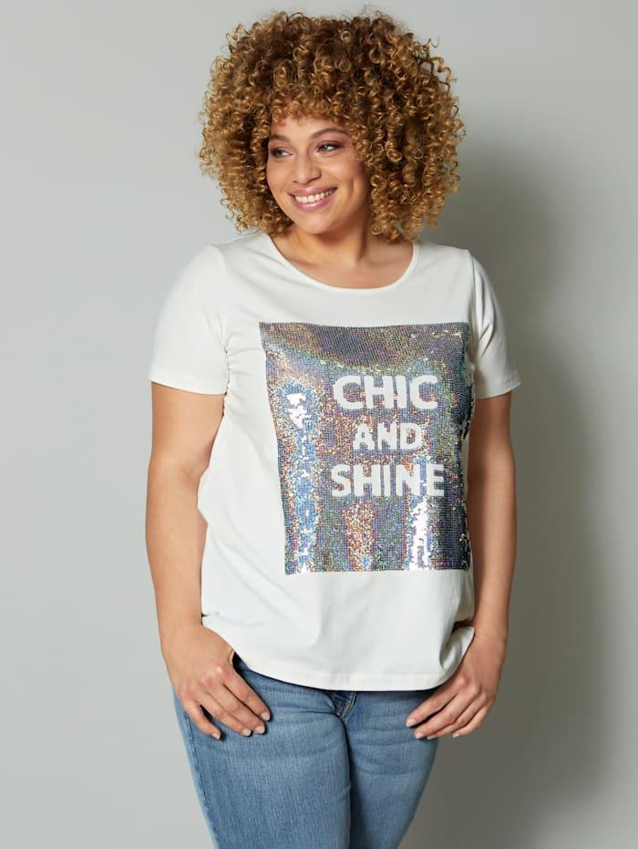 Angel of Style Shirt mit glitzernden Pailletten, Off-white