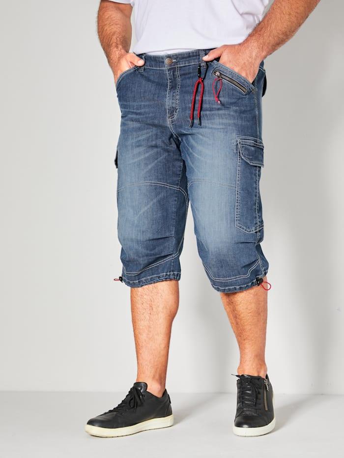 Men Plus Jeansbermuda met veel praktische zakken, Blue stone
