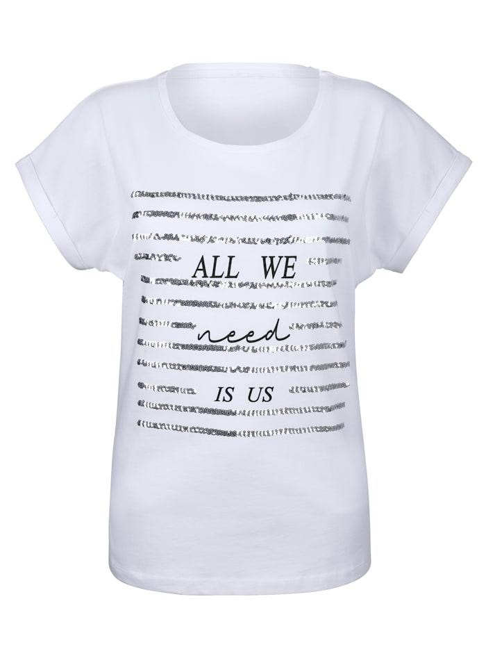 Shirt mit Schriftzug und Pailletten