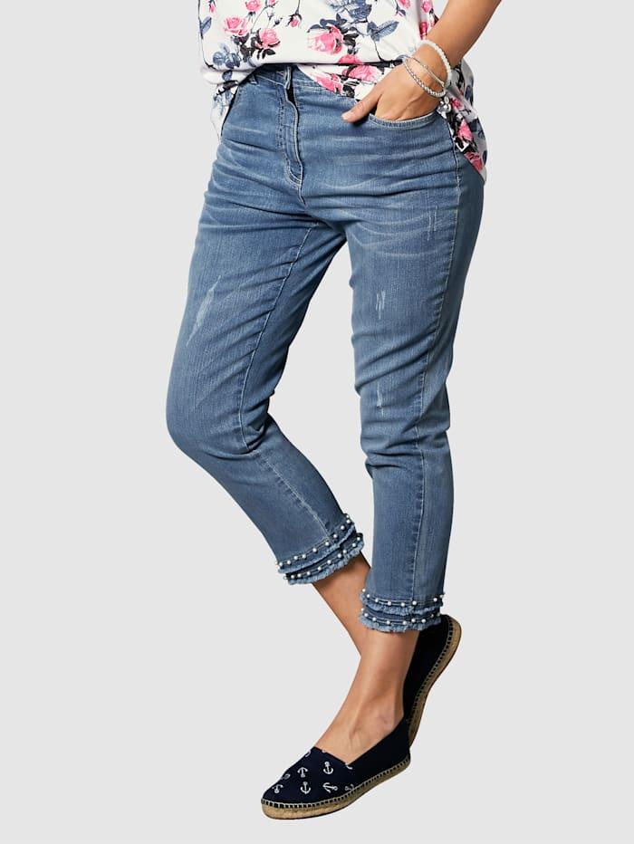 MIAMODA 7/8 Jeans mit Dekoperlen und kleinen Fransen am Saum, Blue bleached