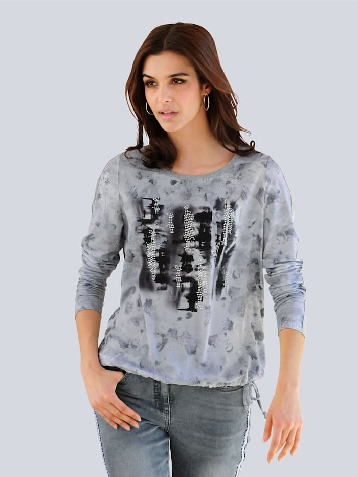 Alba Moda Shirt mit Motiv-Druck, Grau/Off-white/Silberfarben