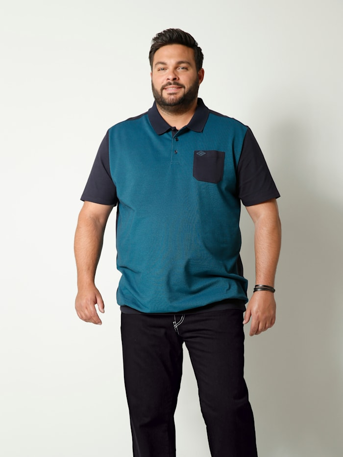 Men Plus Poloshirt met speciale pasvorm, Turquoise/Marine