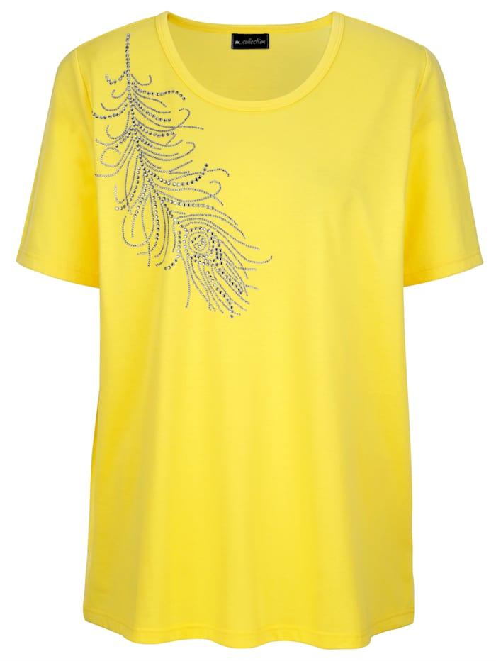 m. collection Shirt mit aufwendigem Strassfedermotiv, Gelb