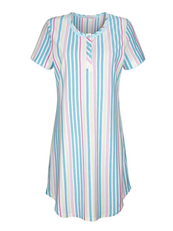 MONA Nachthemd met contrastkleurige paspels, Wit/Mint/Fuchsia