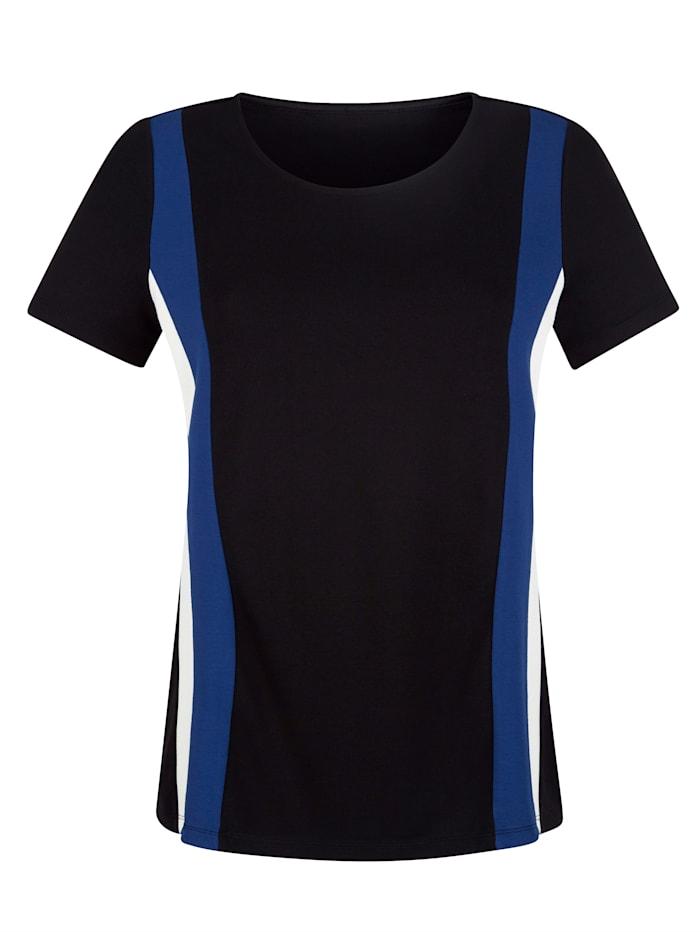 AMY VERMONT Shirt mit Streifen, Schwarz/Weiß/Royalblau