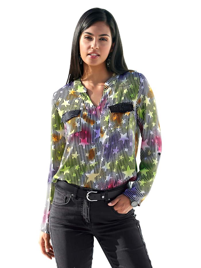 AMY VERMONT Blouse met gekleurd sterrendessin, Multicolor