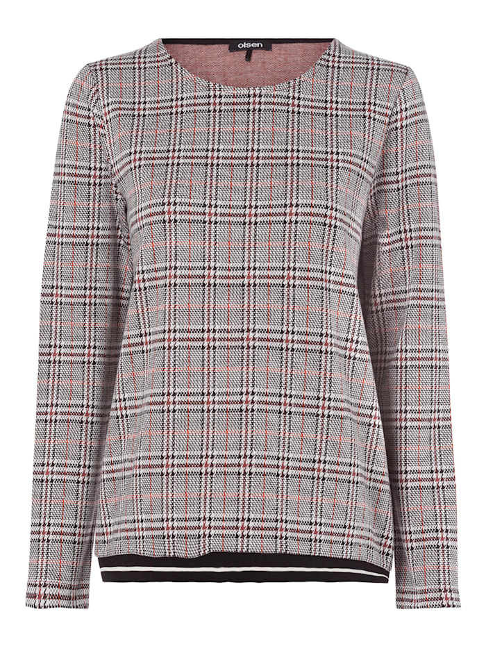 Olsen Sweatshirt mit Glencheck-Muster, Black