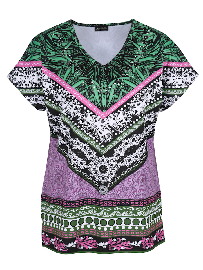 m. collection Shirt met chic dessin rondom, Olijf/Lila/Wit