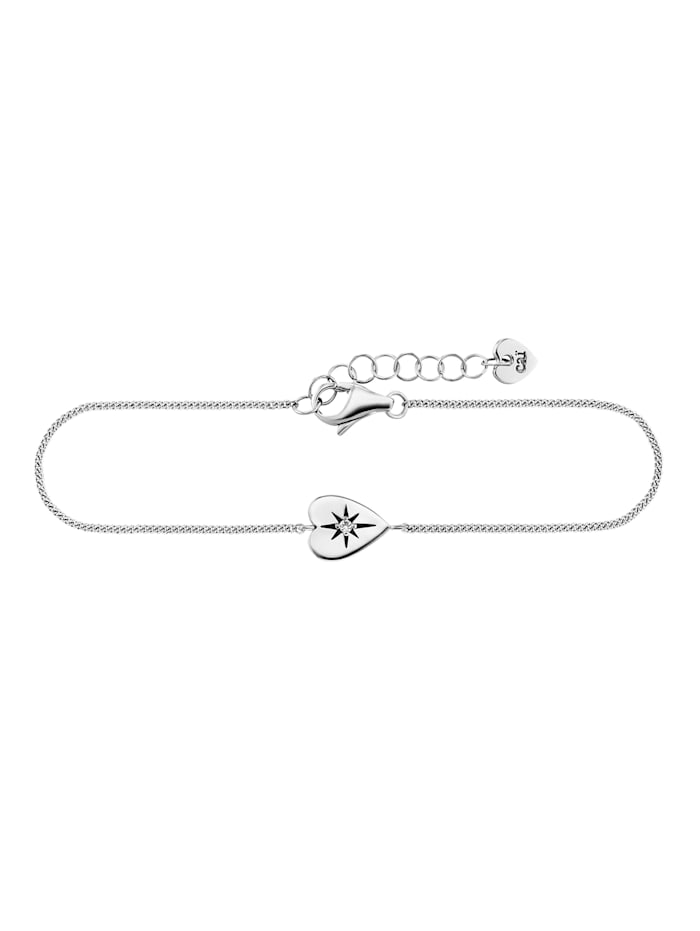 CAI Armband 925/- Sterling Silber Zirkonia 16+3cm Glänzend, weiß