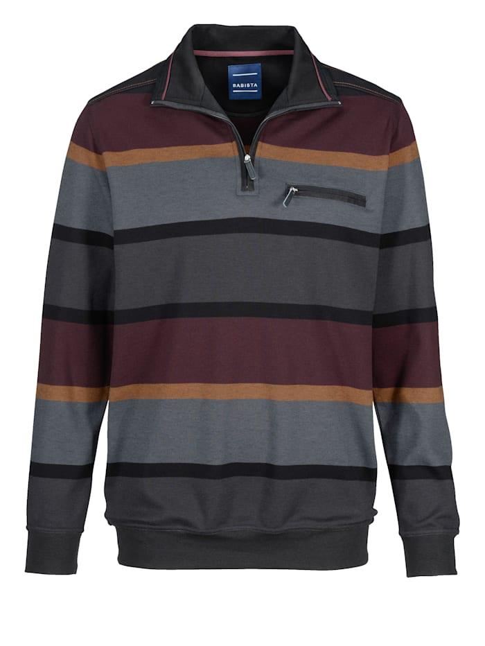 BABISTA Sweatshirt in bügelfreier Qualität, Anthrazit/Bordeaux