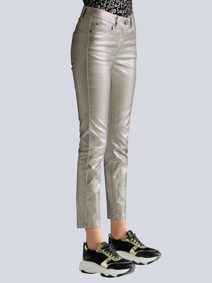 Alba Moda Jeans allover im trendaktuellen Folienprint, Taupe/Goldfarben