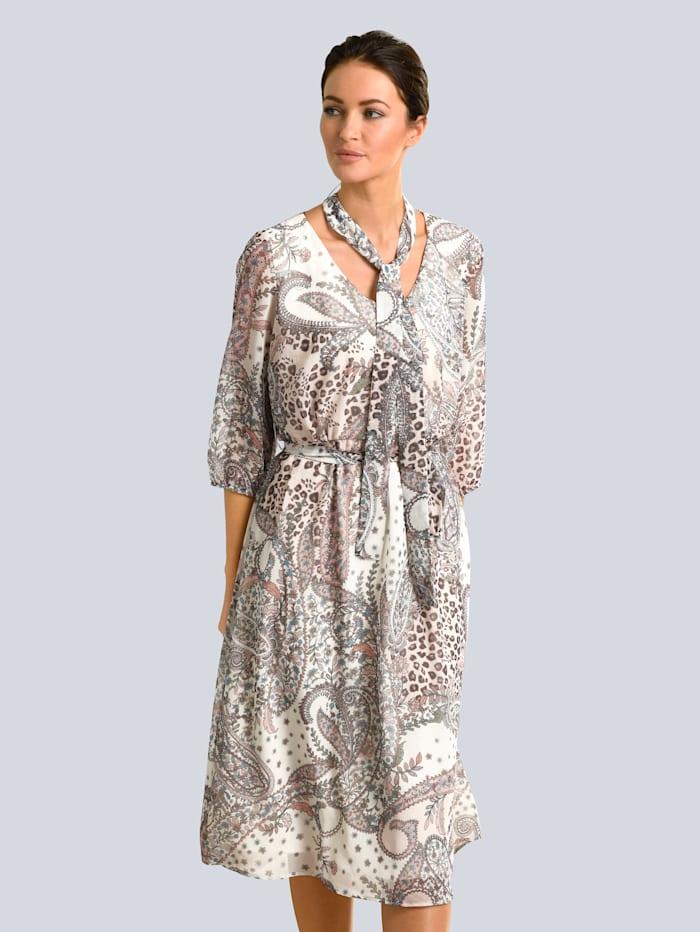 Alba Moda Kleid mit abnehmbarer Schluppe, Creme-Weiß/Orange