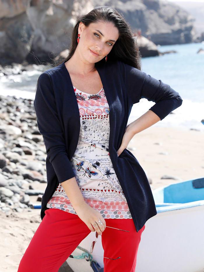MIAMODA 2-in-1 Shirt mit Leichtstrick, Marineblau/Weiß