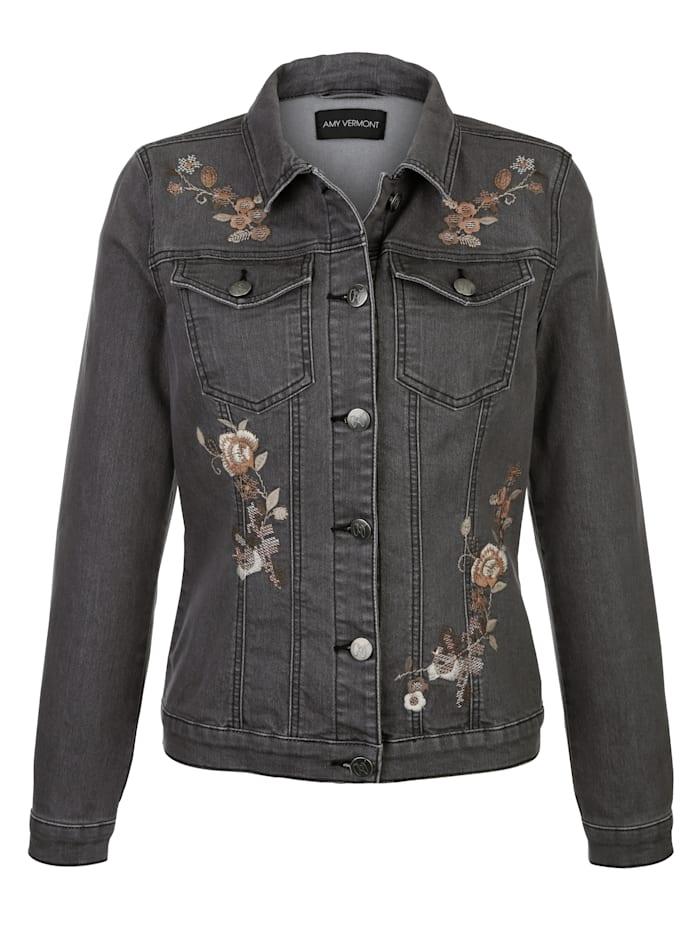 AMY VERMONT Jeansjacke mit Blütenstickereien im Vorderteil, Grey