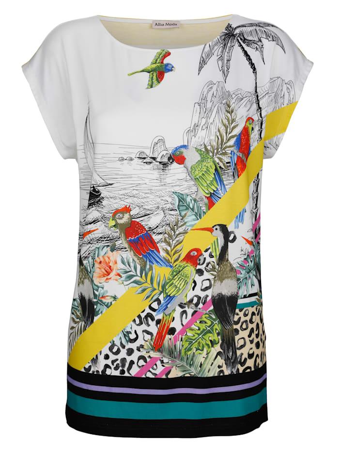 Alba Moda Strandshirt mit Vogeldruck, Weiss