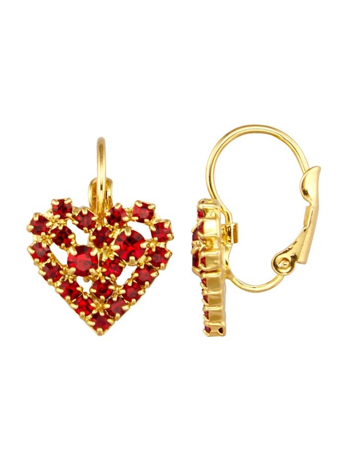 Golden Style Boucles d'oreilles coeur avec cristaux, Rouge