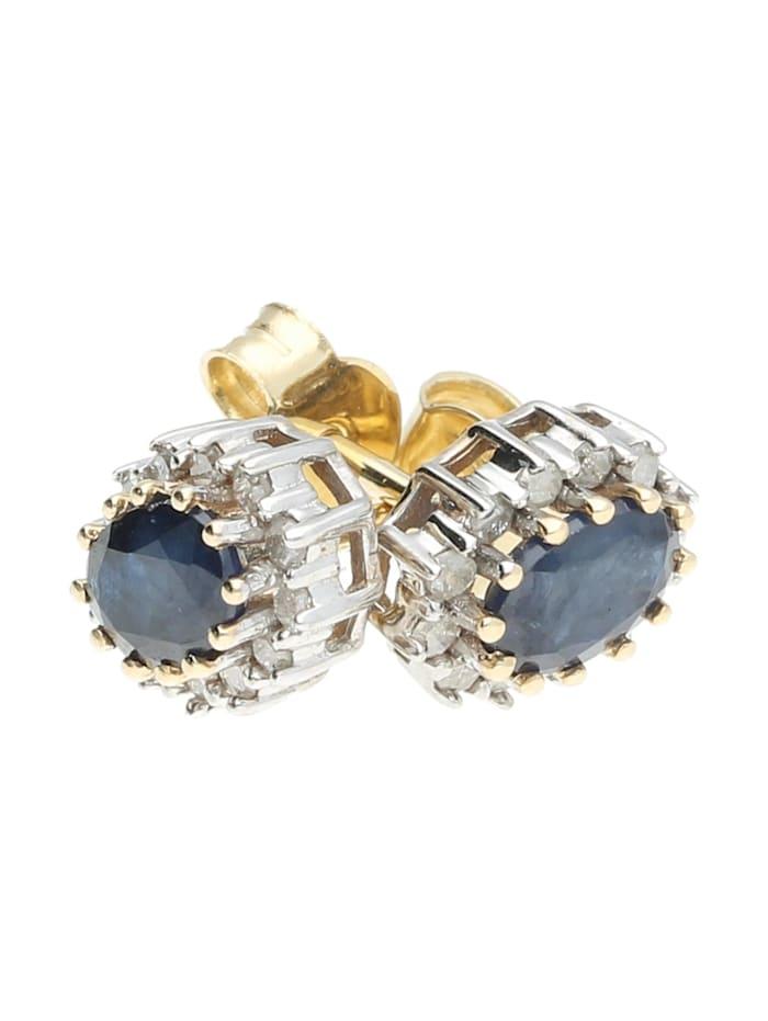 Ohrstecker Safir und Diamanten, Gold 585