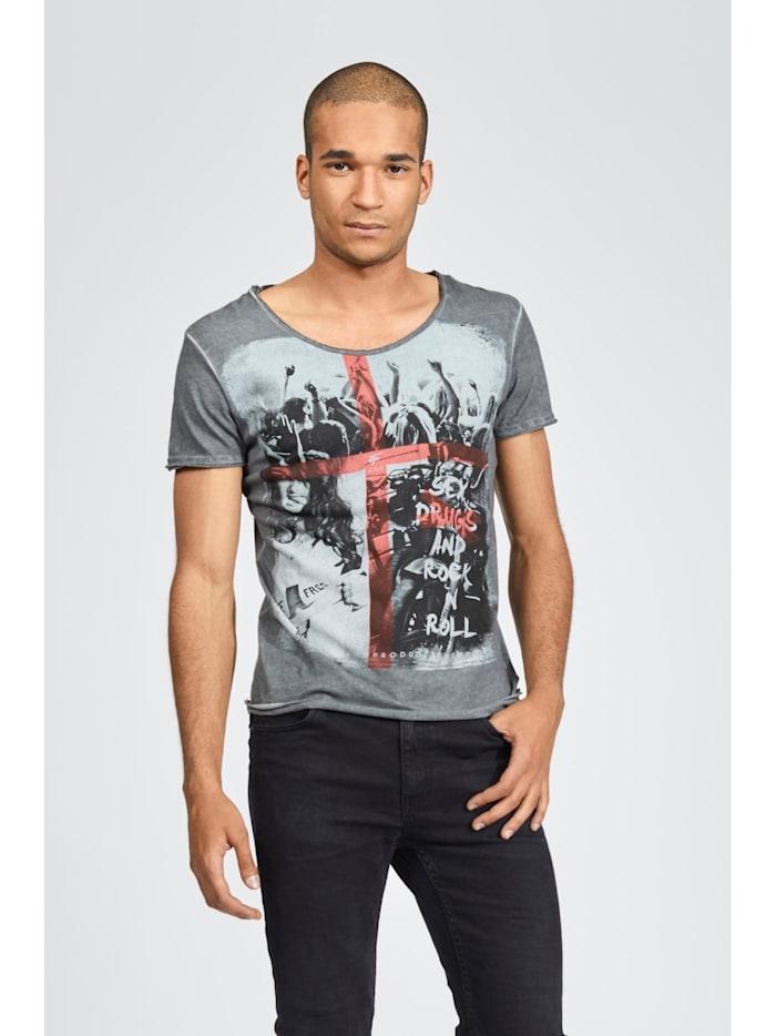 trueprodigy T-Shirt mit lässigem Rock\'n\'Roll-Aufdruck, 0403-Anthracite