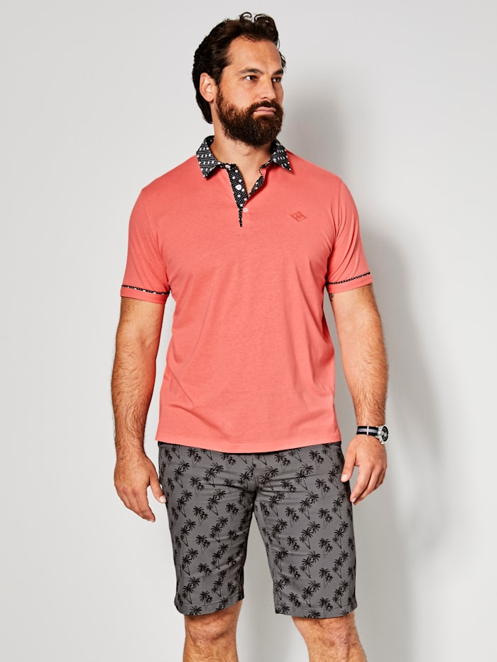 Men Plus Poloshirt mit Allover Print am Kragen, Koralle