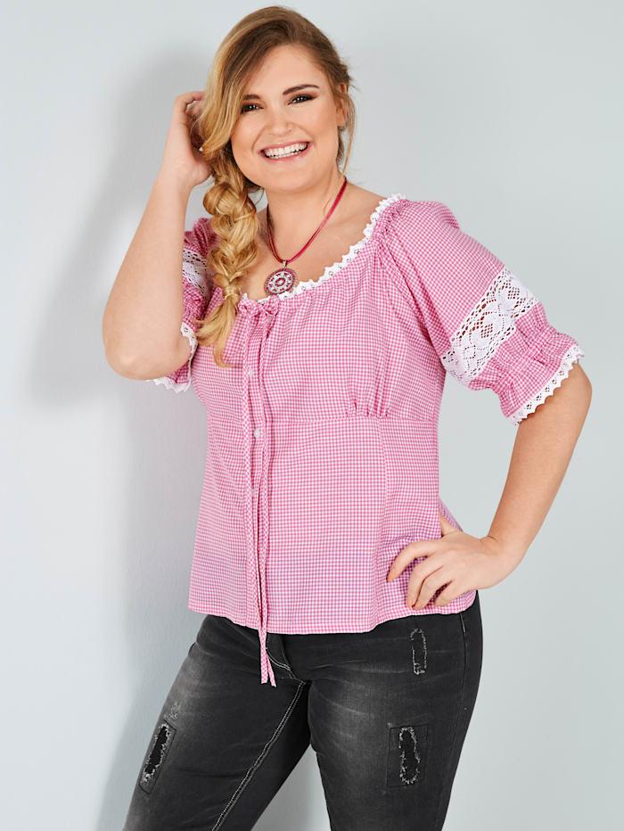 Sara Lindholm Tiroler blouse van zuiver katoen, Roze/Wit