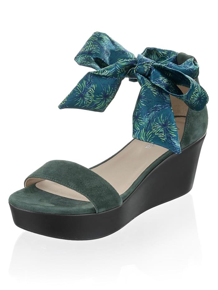 Alba Moda Sandalette aus Ziegenveloursleder, Grün