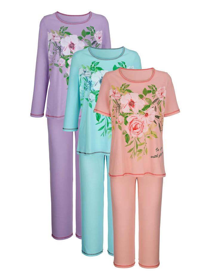 Harmony Pyjama's per 3 stuks met 3 verschillende mouwlengtes, Mint/Lila/Apricot