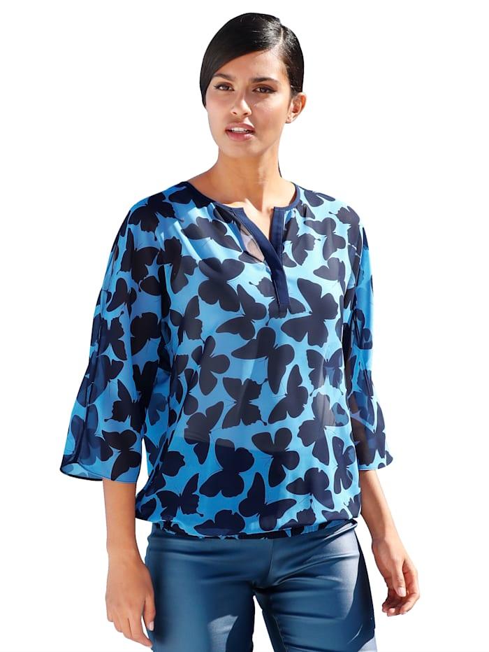 AMY VERMONT Bluse mit Schmetterlingsdruck, Marineblau/Hellblau