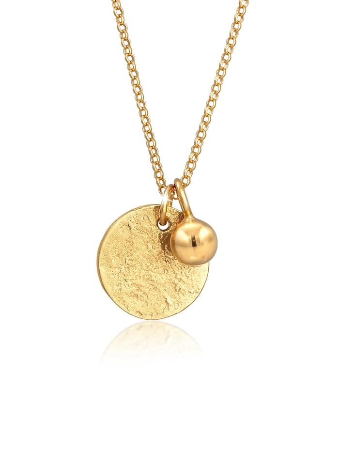 Elli Halskette Plättchen Münze Organic Look Geo Kugel 925 Silber, Gold