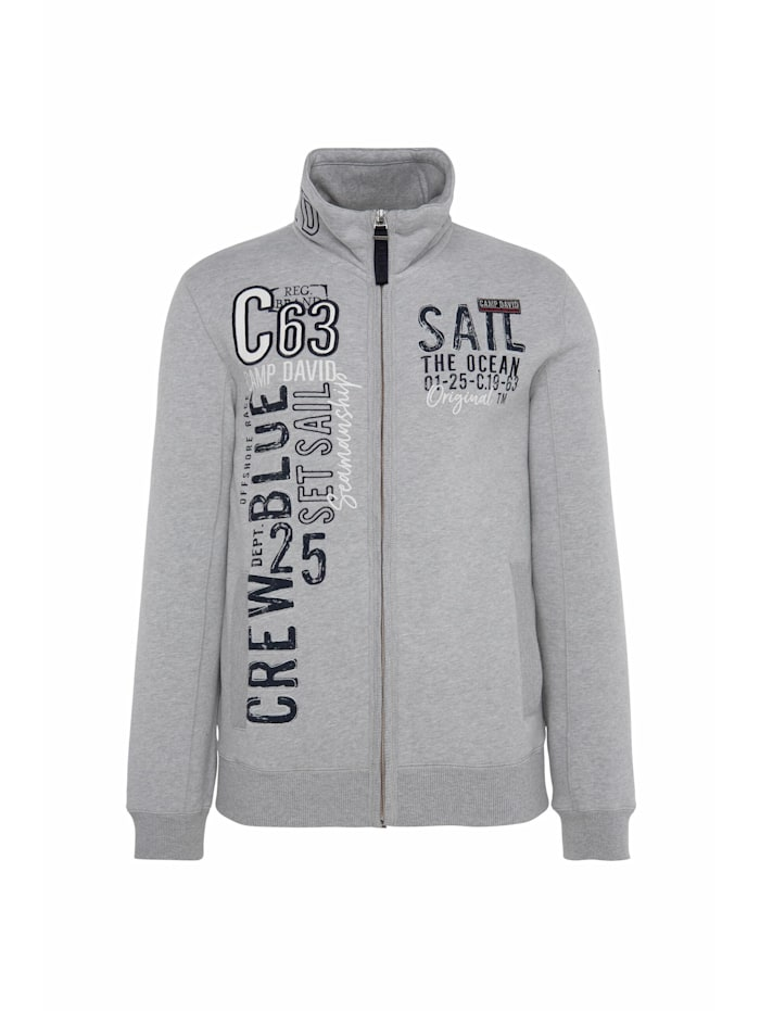 Camp David Gepeachte Sweatjacke mit Artwork, grey melange