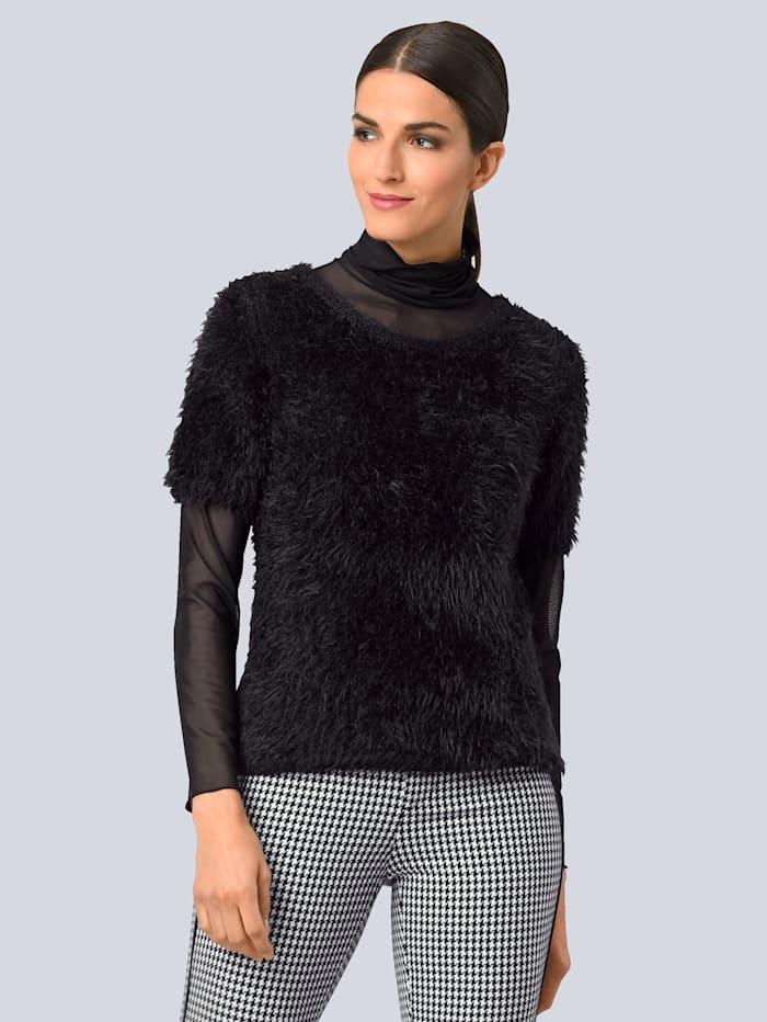 Alba Moda Pullover modisch mit Effektgarn, Schwarz