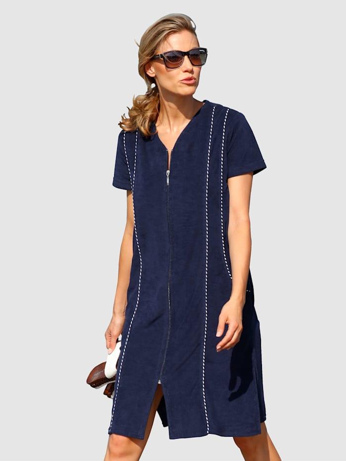 Maritim Strandklänning i behaglig frottékvalitet, Marinblå