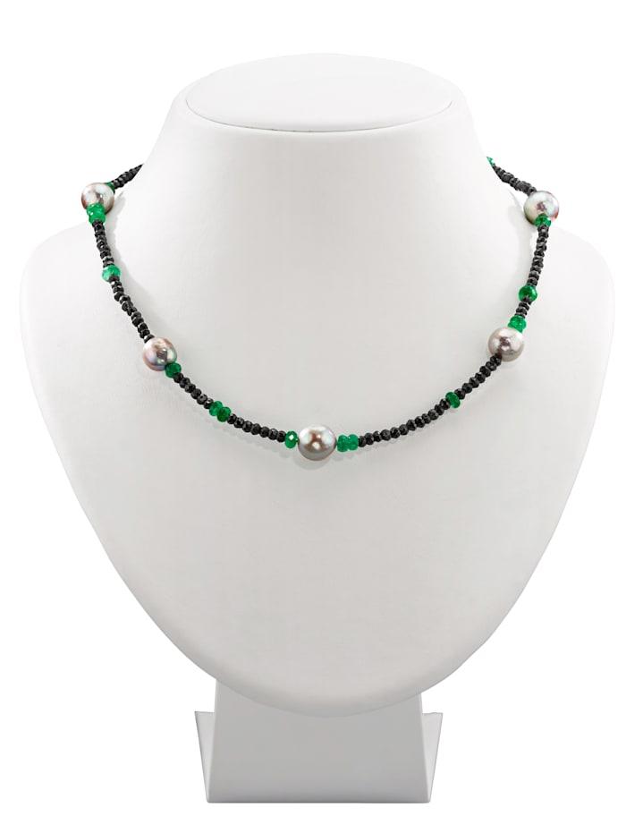 Amara Farbstein Spinellkette mit Smaragden, Multicolor