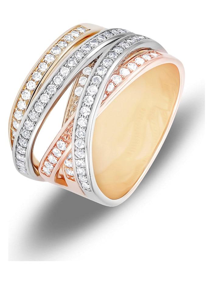 CHRIST Diamonds CHRIST Diamonds Damen-Damenring 585er Gelbgold 84 Brillanten, tricolor
