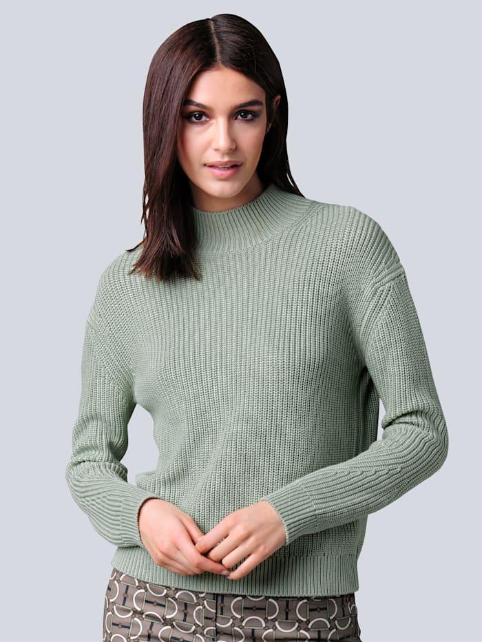 Alba Moda Pullover in schönem Patentstrick, Salbeigrün