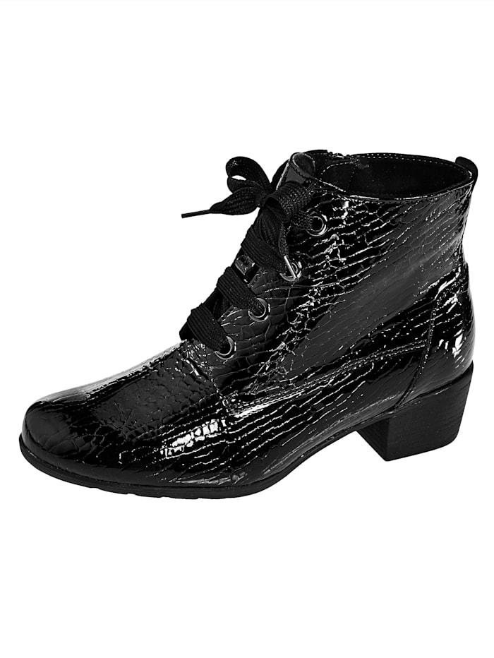 Solidus Stiefelette aus hochwertigem Lackleder, Schwarz