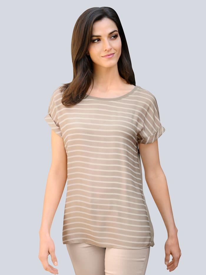 Alba Moda Tričko s módním proužkovým vzorem, Béžová/Bílá